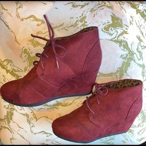 Maroon Wedge Booties With Laces